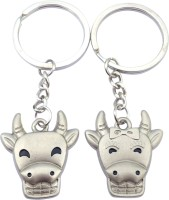 CTW Cow Couple Face Metal Pack Of 2 Key Chain (Multicolor)