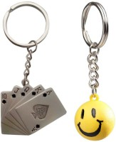 Confident 1 Metal Poker Cards And 1 Smily Keychain (Multicolor)