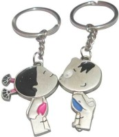 ShopnGift Kid Couple Kissing Key Chain (Silver, Multicolor)