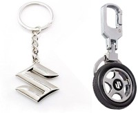 City Choice Combo Of 2 Pcs Of Suzuki Locking Key Chain (Black & Chrome)
