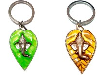 City Choice Combo Of Green & Copper Leaf Ganesha Key Chain (Light Green & Copper)