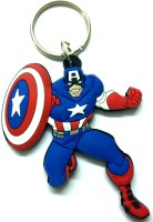 AA Retail Double Side Silicone Captain America Key Chain (Blue, Red)