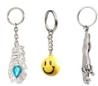 Chainz Pack Of Omg Smiley And 3d Jaguar Keychain (Multicolor)