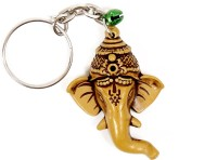 Lehar Toys Pvc Wooden Finish Face Of Ganesha Key Chain Locking (Brown)
