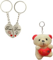 Anishop True Love You Heart & Teddy Bear Couple Combo Pack Key Chain (Silver)