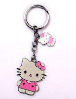 JDK Small Cute Cat 2x Design Key Chain (Multicolor)