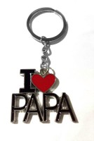 Tech Fashion I Love Papa Red Colour Heart Locking Keychain (Red, Black)