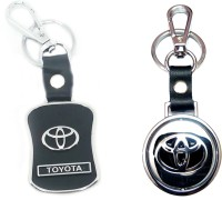 City Choice New Toyota Revolving & Leather-Metal Hook Locking Key Chain (Multicolor)