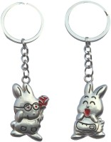 CTW Cute Rabbit Proposing Couple Valentine Gift Metal Key Chain (Silver)