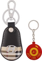 JLT Premium Burberry Design Hyundai Car Logo Locking Key Chain (Multicolor)
