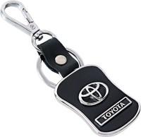 U. R. God HQ Toyota Leather & Metal Car Logo Locking Key Chain (Black)