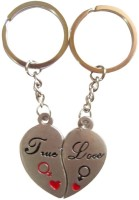 Shopngift True Love Couple Heart Key Chain (Silver)