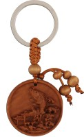 JLT Chinese Fish Feng Shui Wooden Keychain (Brown)