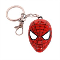 JLT Full Metal Spiderman Face Key Chain (Red, Black)