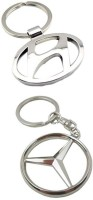 Confident Metalic Hundai And Mercedece Benz Car Logo Keychain (Silver)