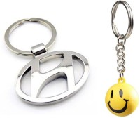 Chainz Hyundai Logo Metal And Smiley Ball Keychain (Multicolor)