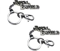 Chainz Pack Of 2 Royal Enfield Hook Locking Keychain (Silver)