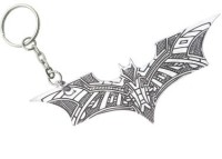 Optimus Traders Batman Justice League Bat Texture Logo Silver Metal Keychain Key Chain (Silver)
