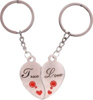 Ezone Stylic Metal Love With True Love Bent Gate Key Chain (Silver)