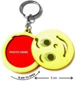 CTW Pine Wood Smiley Photoframe Keychian Keychain (Yellow)