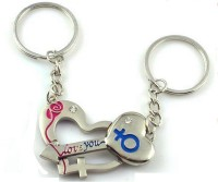 CTW Love You Cute Heart & Lock Couple Metal Key Chain (Silver)