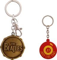 JLT The Beatles Metal Golden Premium Locking Curved Gate Key Chain (Multicolor)