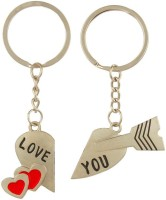Anishop Valentine Love You Couple Heart Key Chain (Silver, Red)