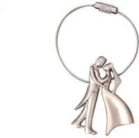 Ezone Stylic Full Metal Bride LOve Groom Metal Wire Key Chain (Silver)