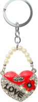 Ctw Blings Love Heart Pearl Valentine Gift Key Chain (Red)