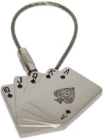 Aura Imported Playing Cards Full Metal Poker Locking Keychain (Silver)