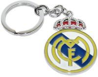 Aura Real Madrid Football Club Full Metal Imported Locking Keychain (Yellow, Blue)