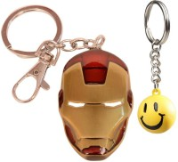 Chainz Ironman Face Mask And Smiley Ball Keychain (Multicolor)