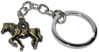 Aura Full Metal Double Sided Horse Locking Keychain (Brown)