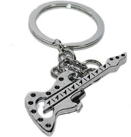 Aura Imported Full Metal Guitar Locking Keychain (Silver)