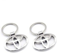 Ezone Toyota Metallic Pack Of 2 Key Chain (Silver)