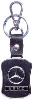 City Choice Mercedes Leather & Metal Locking Key Chain (Black & Chrome)