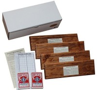 D&W Custom Wood Designs Double Deck Pinochle Holder Gift Set Includes 4 Wooden (Multicolor)
