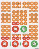 Pokemon Set Of Small Damage Counters For (10 Sheets/160 Counters) (Orange)