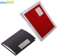 BillionBAG | High Quality Steel Red Leather ATM And Black Leather Visiting 6 Card Holder (Set Of 2, Silver, Red, Black)