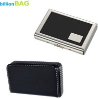 BillionBAG | Combo Of 2 | High Quality Black Leather Soft Visiting Card And Black Leather ATM 6 Card Holder (Set Of 2, Black, Silver)