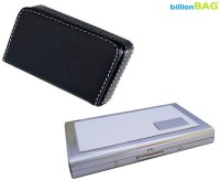 BillionBAG High Quality Stainless Steel Red ATM And Black Leather Soft Visiting 6 Card Holder (Set Of 2, Silver, Black, White)