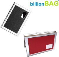 BillionBAG | High Quality | Steel Black Leather And Red Leather ATM 6 Card Holder (Set Of 2, Red, Black, Silver)