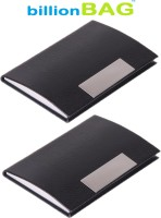 BillionBAG | Pack Of 2 | High Quality Stylish Black Leather Visiting 10 Card Holder (Set Of 2, Black)
