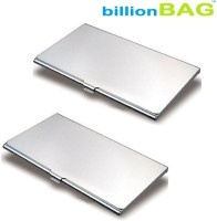 BillionBag | Executive | Pack Of 2 | Steel Visiting 10 Card Holder (Set Of 2, Silver)