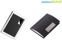 BillionBAG | High Quality Stylish Stainless Steel Leather Black ATM And Black Leather Visiting 6 Card Holder (Set Of 2, Silver, Black)