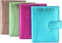 Hide & Sleek Soft Leather 20 Card Holder Set Of 4, Multicolor
