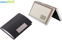 BillionBAG | High Quality Steel White Leather ATM And Black Leather Visiting 6 Card Holder (Set Of 2, Silver, White, Black)