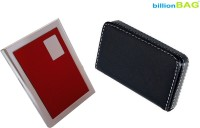 BillionBAG High Quality Steel Red ATM And Soft Leather Black Visiting 6 Card Holder (Set Of 2, Red, Black, Silver)