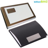 BillionBAG High Quality Stylish Stainless Steel Leather White ATM And Black Leather Visiting 6 Card Holder (Set Of 2, Silver, White, Red)