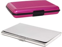 Shine Fashion 20 Card Holder (Set Of 2, Silver, Pink)